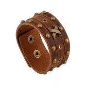 Wangjianfeng Vintage punk man rivet leather bracelet