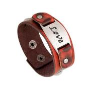 Wangjianfeng Male and female retro wind-punk alloy wide leather bracelet