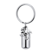 Cylinder Pterosaur Cremation Urn Keychain Memorial Urn Pendant Necklace Stainless Steel Cremation Jewellery
