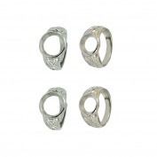Sharplace 4 Pieces Silver Tone 10mm/12mm Round Bezel Adjustable Flower Ring Blank Bases DIY Findings Crafts