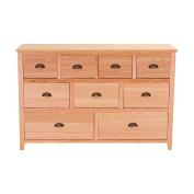 Panana 9 Drawers Oak Sideboard Furniture Hallway Storage Pretty Chest Of Drawers Storage 130CM