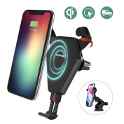 iPhone X Wireless Qi Car Charger,Wofalo Car Mount Air Vent Phone Holder Cradle for Samsung Galaxy Note 8/ S8/ S8+/ S7/ S6 Edge+/ Note 5, QI Wireless Standard Charger for iPhone 8/ 8 Plus/ X