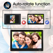 TENKER 25cm HD Digital Photo Frame IPS LCD Screen with Auto-Rotate/Calendar/Clock Function, MP3/Photo/Video Player with Remote Control (Black)