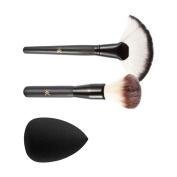 Sharplace 3pcs Makeup Beauty Foundation Cream Blush Bronzer Brushes Kit +Flawless Puff