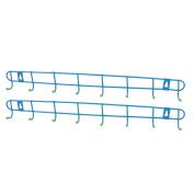 2pcs Metal 8 Hooks Bedroom Bathroom Kitchen Wall Row Hooks Rack Rail