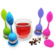 HLHN Tea Infuser Portable Silicone Leaf Shape Tea Strainer Handle with Steel Ball Silicone leaf Lid Coffee Tea Maker 4pc