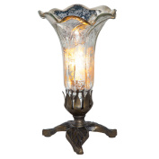 River of Goods Hand Blown Mercury Glass Lily Lamp with Leaf Base
