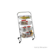 Mind Reader 4 Tier Rolling Basket Rack, Silver