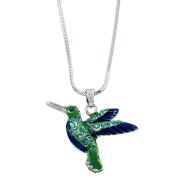 Hummingbird Pendant Necklace Rhinestone Crystal Rhodium High Polished J1534