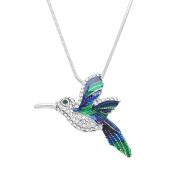 Hummingbird Pendant Necklace Rhinestone Crystal Rhodium High Polished J0603