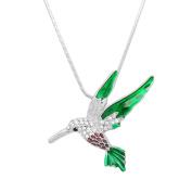 Hummingbird Pendant Necklace Rhinestone Crystal Rhodium High Polished J0605