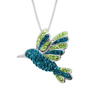 Luminesse Hummingbird Pendant Necklace with Crystals in Sterling Silver