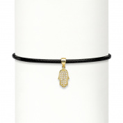 Cubic Zirconia Hamsa 14k Gold over Sterling Silver Black Rope Choker Necklace 33cm - 37cm