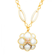 Cristina Sabatini Peonia Deco Necklace with Mother-of-Pearl Resin in 18kt Gold-Plated Brass
