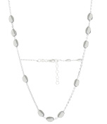 PORI Jewellers Italian Sterling Silver Anchor Chain with 3 + 1 Oval Ball Necklace