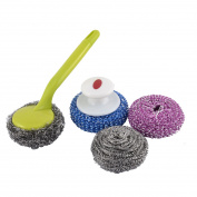 Unique Bargains Household Kitchenware Cleaner Cleaning Scrubber Tool Set Green 4 in 1