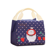 good01 Cute Rabbit Pattern Canvas Food Fruit School Lunch Bag Storage Case Pouch