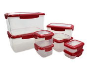 16-Piece Food Storage Container with Leakproof Lids - Air-Tight, Water-Tight. Dishwasher, Freezer, and Microwave Safe. Red