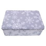 Festive Christmas Metal Storage Tin Grey & White Snowflakes