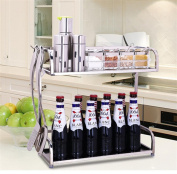 SQL 304 stainless steel kitchen spices racks 2 layers storage rack