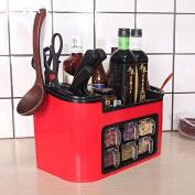 SQL Kitchen plastic home shelf spice storage box , red