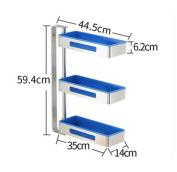 SQL Kitchen corner rotating shelves 3 layers space aluminium saucers , blue