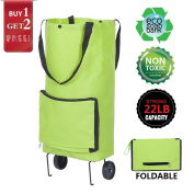 Trolley Dolly Wheel Shopping Bags Reusables Foldable Wheeled Shopping Cart Bag Soft-Shell Tote Box with Wheels Reusable Grocery Bag Grocery Picnic Beach