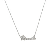 Solid Sterling Silver Pave Shooting Star Necklace