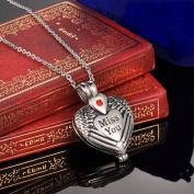 "Ruby ""Miss you"" Heart Locket Cremation Jewellery Keepsake Memorial Urn Necklace"