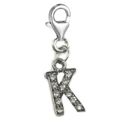 Clip on Letter K Dangle Charm Pendant for European Clip on Charm Jewellery w/ Lobster Clasp