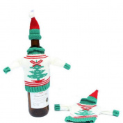 JuneJour Christmas Wine Bottle Cover Wrap Santa Suit Novelty Decoration Bottle Carrier Outfit Clothes with Hat White Tree