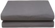Garnier-Thiebaut 28506 Ava Plain Cotton Flat Sheet 240 x 300 cm Grey
