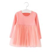 Gprince Girl Long Sleeve Mesh Princess Dress Fashionable Solid Colour Round Collar Fluffy Dress Skirt