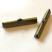 Pack of 20, 35mm bronze plated ribbon crimps
