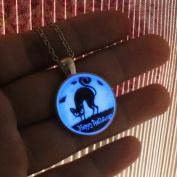 Glowing Cat Necklace Alloy Plated Pendant Jewellery 46cm ,Aquamarine Blue