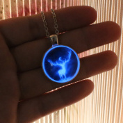 Deer Glowing Necklace Alloy Plated Pendant Jewellery 46cm ,Aquamarine Blue
