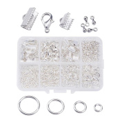 Silver Tone Lobster Clasp Flat End Caps and Open Jump Rings in a Plastic Box