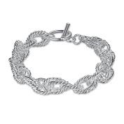 Simple Flower Silver Buckle Bracelet,Silver Plated,20cm