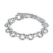 Simple Round Silver Trim Buckle Bracelet,Silver Plated,20cm