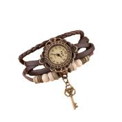 Fablcrew Wrist Watch Hand Made Weave Wrap Leaf Bracelet Woman Watch coffee