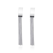 Geometric Lines Of Silver Earrings,Silver Plated,7.2cmx0.9cm