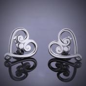 Fashion Heart-Shaped Silver Earrings,Silver Plated,1.6cmx1.5cm