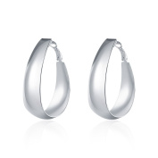 Smooth Egg Earrings Fashion Round Silver Earrings,Silver Plated,4.7cmx4.0cm