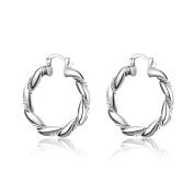 Twisted Loop Earrings Fashion Round Twist Earrings,Silver Plated,3.8cm