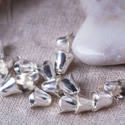 20 pcs 9mm Jewellery Making Metal Multi-Petal Bellflower Hollowed Silver Bead Caps Flower Cup Shape Beads
