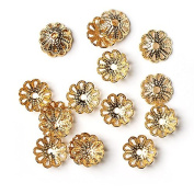 8 mm 20 pcs Jewellery Making Metal Flower Hollowed Gold Colour Bead Caps Multi Petal Flower Cup Shape Beads