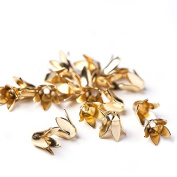 6 mm 20 pcs Jewellery Making Metal Bellflower Hollowed Gold Colour Bead Caps Multi Petal Flower Cup Shape Beads
