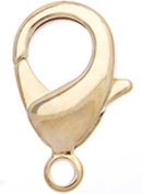 10mm Gold Plated Lobster Clasp, 10 Pcs
