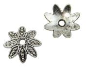 Pack of 20 Flower Bead Caps 14mm Dark Antiqued Silver