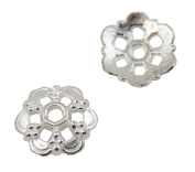 20 Flower Shape Metal Bead Cap 14mm Bright Silver